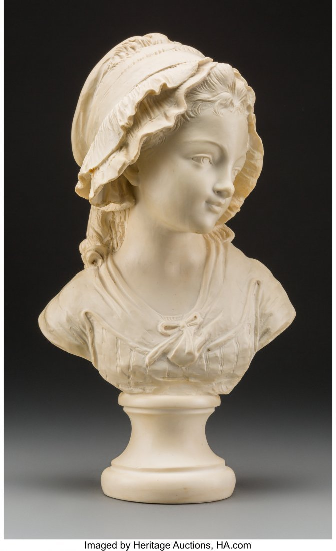 61738: A Carved Composite Bust of a Young French Girl,