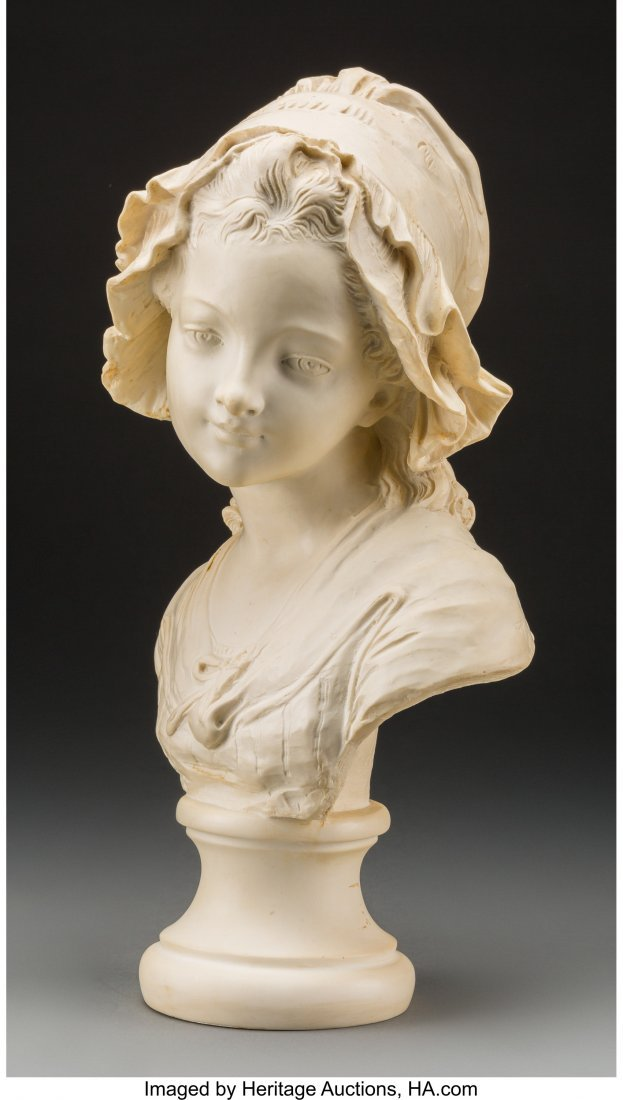 61738: A Carved Composite Bust of a Young French Girl,  - 2