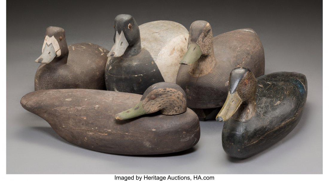 61926: Five American Carved and Painted Wood Duck Decoy