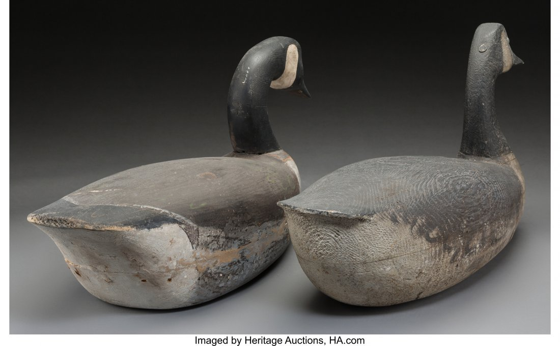 61929: Two American Carved Wood Canadian Geese Decoys,  - 2