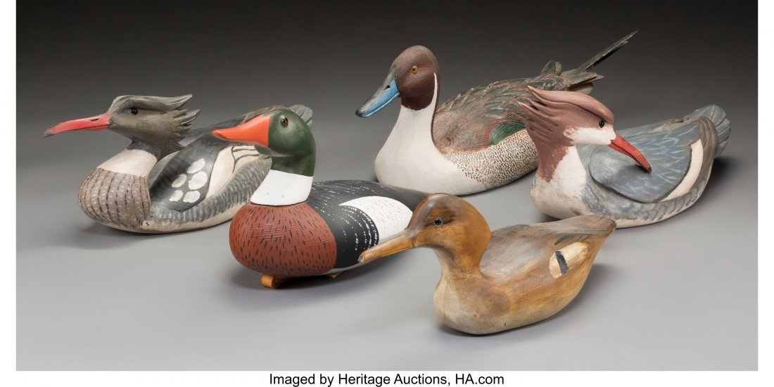 61933: Five American Carved and Painted Wood Duck Decoy