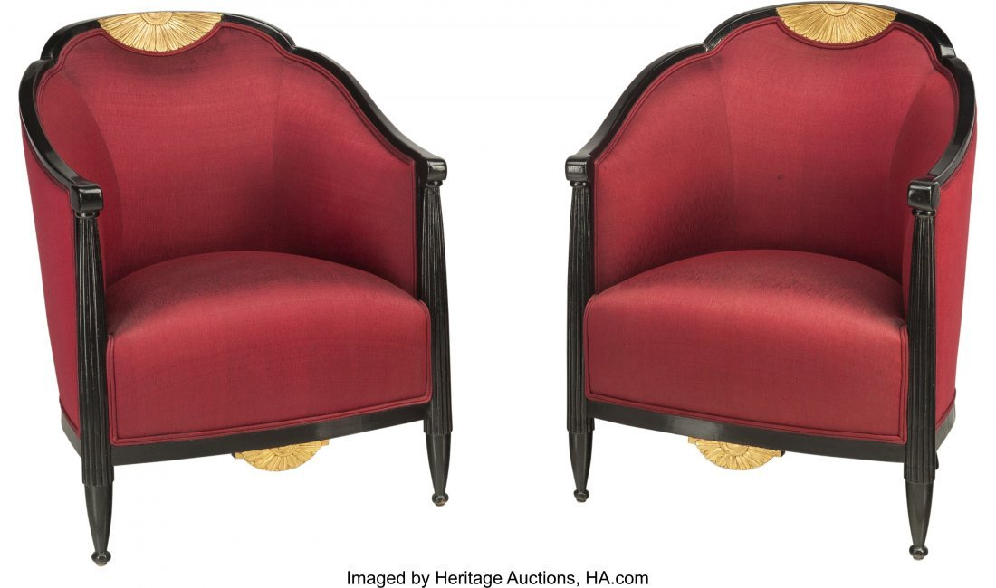 62071: A Pair of French Art Deco Ebonized and Giltwood