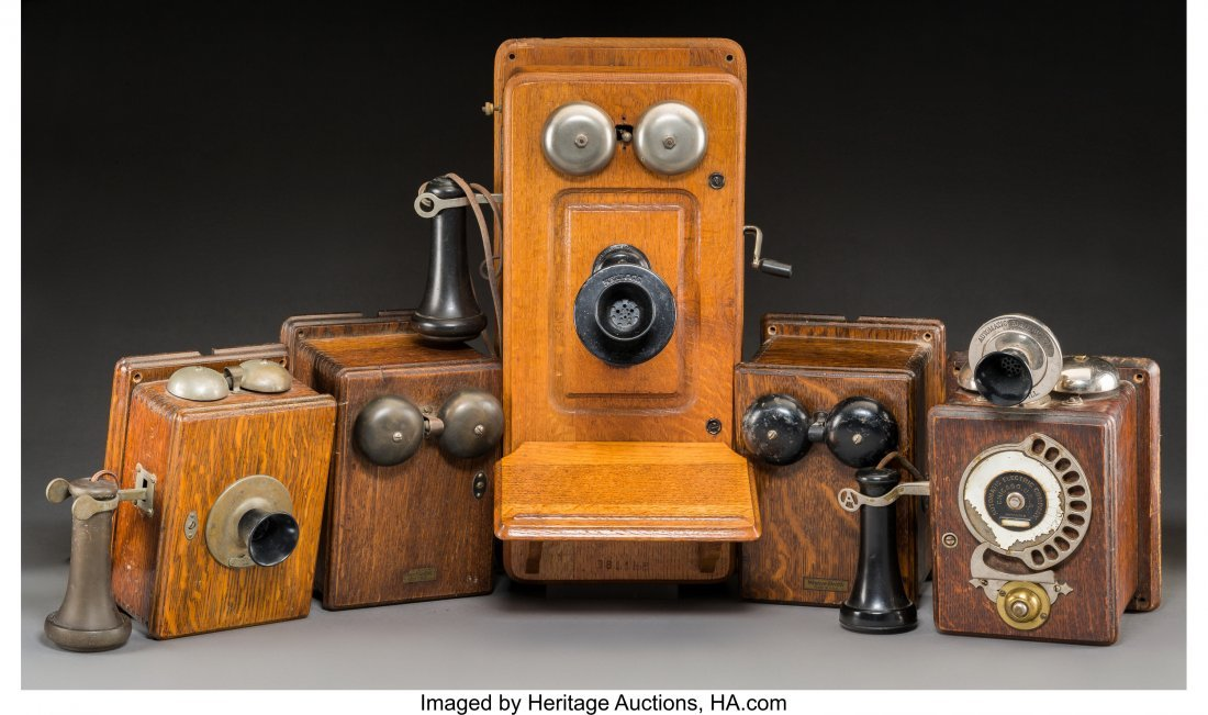 61945: Five Various American Oak-Mounted Wall Telephone