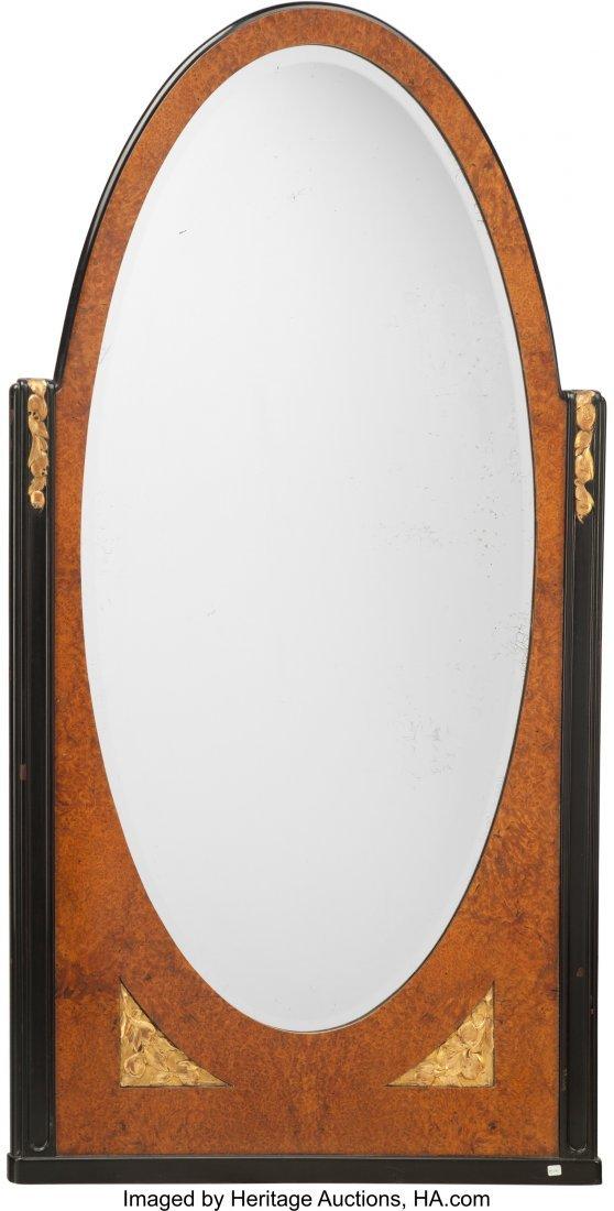62075: An Art Deco Burled, Ebonized, and Giltwood Mirro