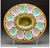 61759 A Large English Majolica Oyster Plate circa 187