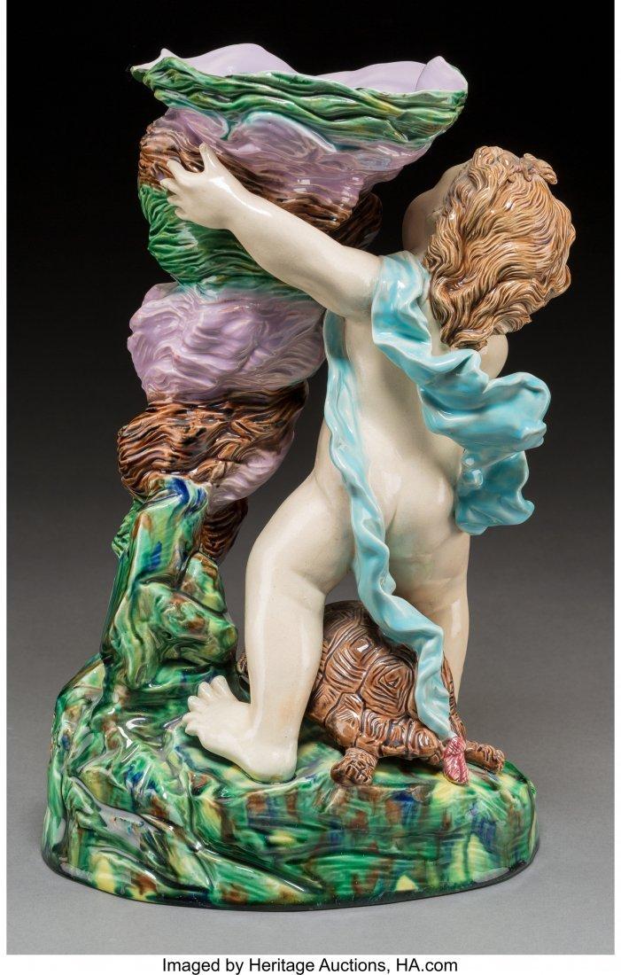 61764: A French Majolica Figural Vase, 1870 Marks: V He - 2