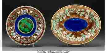 61765 Two Minton and English Majolica Plates Stokeon