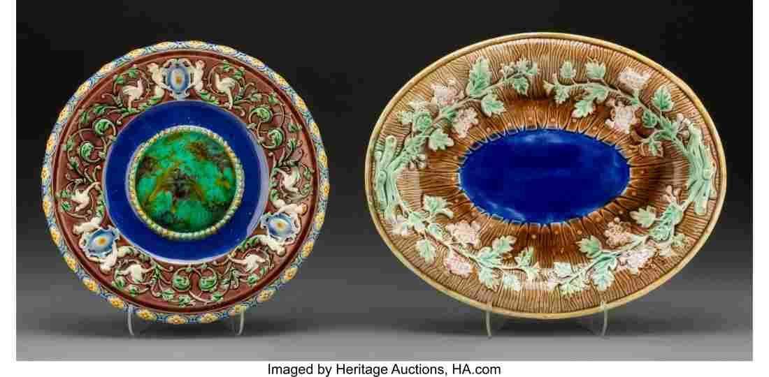 61765: Two Minton and English Majolica Plates, Stoke-on