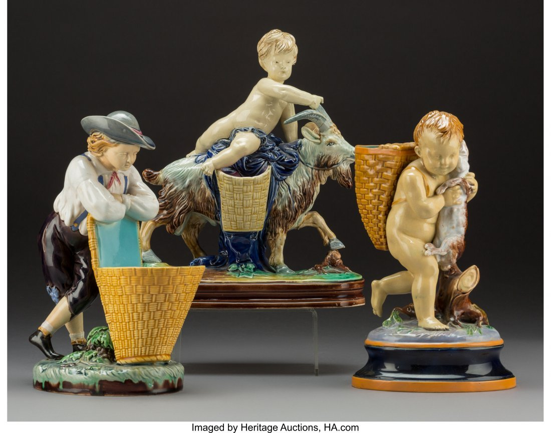 61768: Three English Majolica Figural Vases, Stoke-on-T