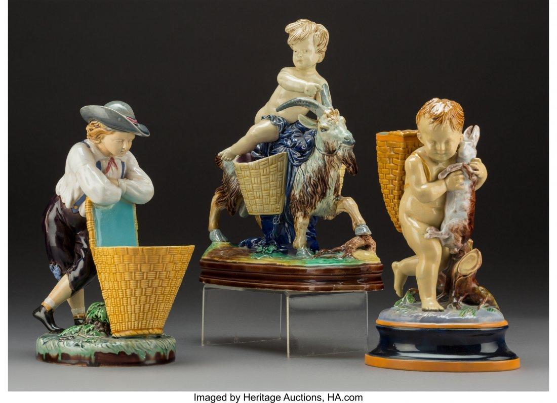 61768: Three English Majolica Figural Vases, Stoke-on-T - 2
