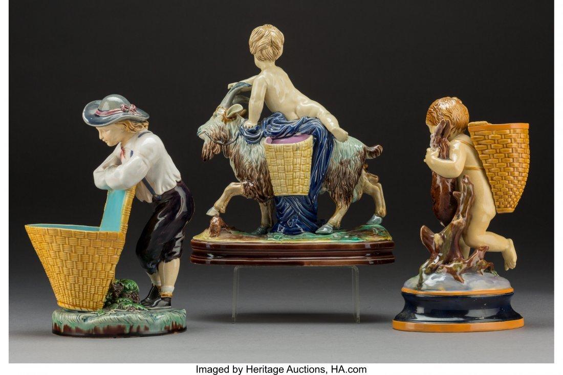 61768: Three English Majolica Figural Vases, Stoke-on-T - 3