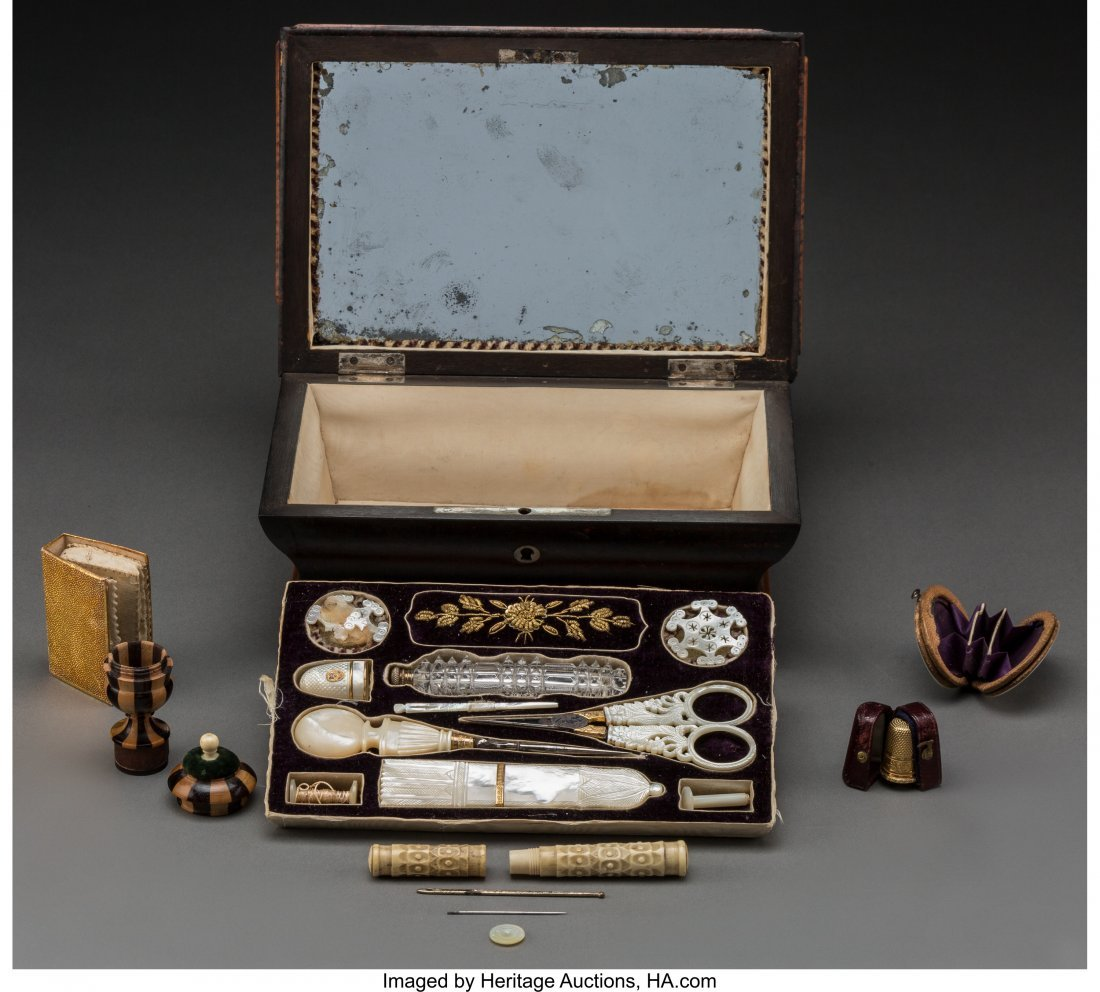 61772: An English Regency-Style Burled Wood and Mother- - 2