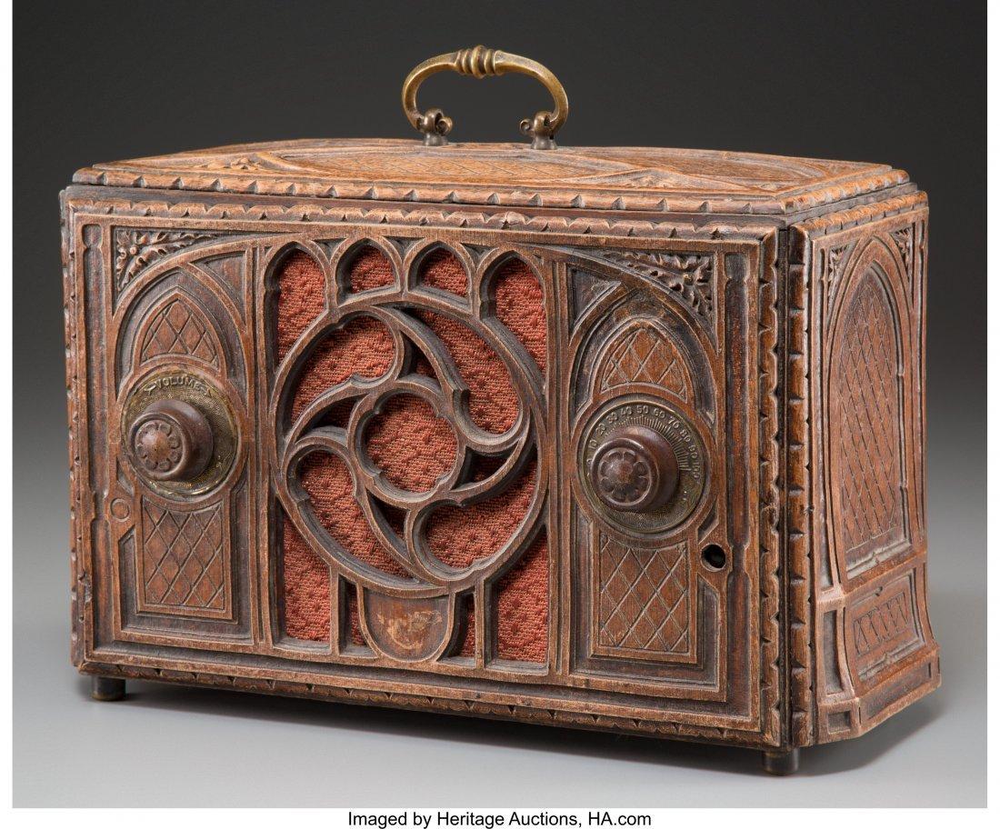 62023: An RCA Model R-22-S Carved Oak AM Radio, circa 1