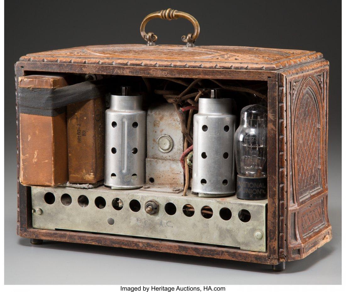 62023: An RCA Model R-22-S Carved Oak AM Radio, circa 1 - 2