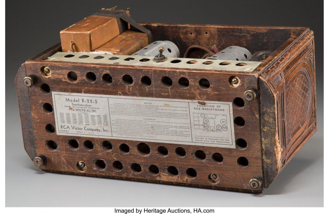 62023: An RCA Model R-22-S Carved Oak AM Radio, circa 1 - 3