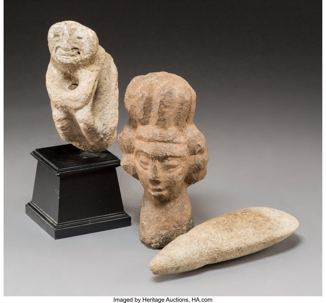 62026: Three Various Pre-Columbian Stone Carvings 8 inc