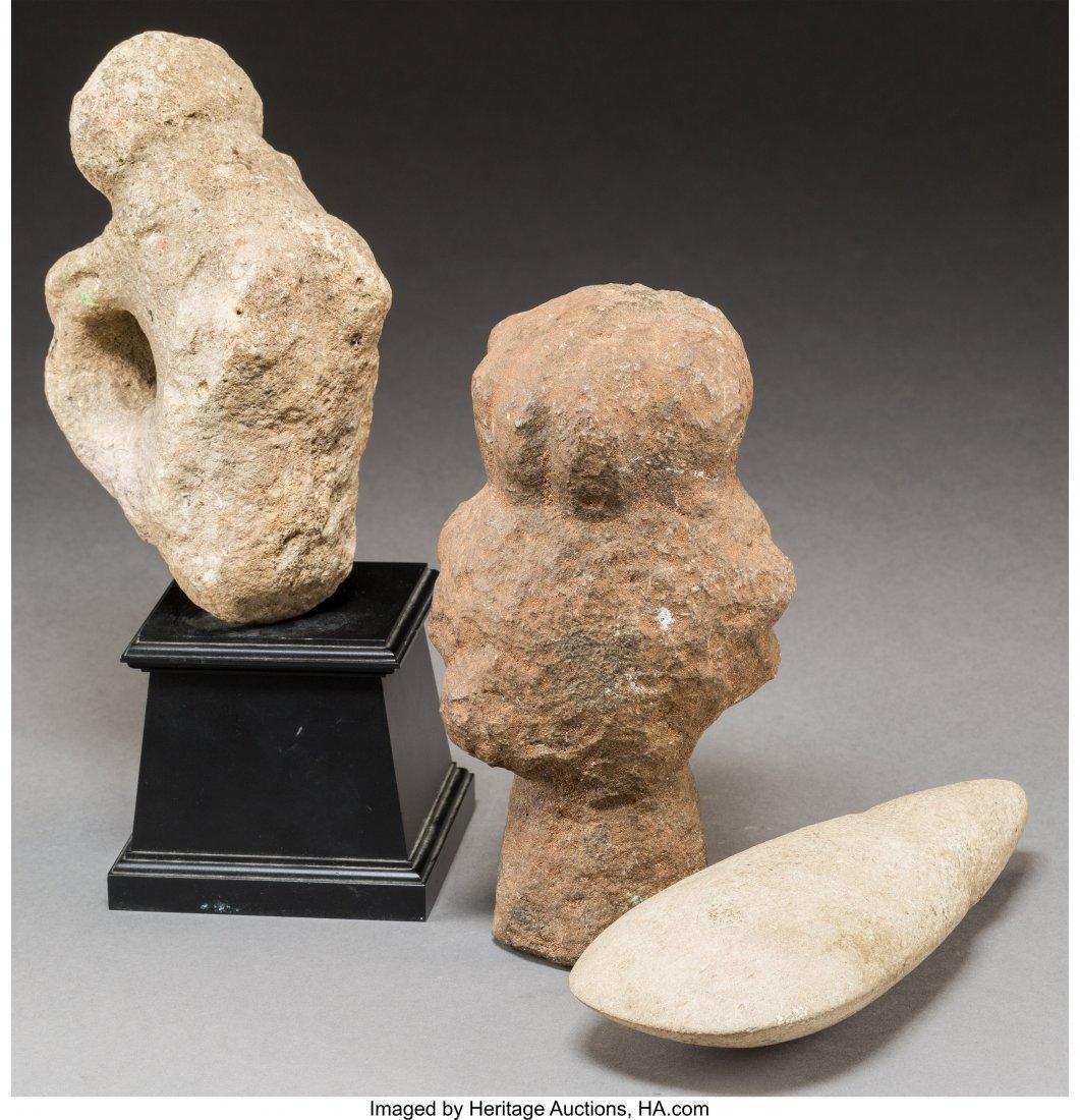 62026: Three Various Pre-Columbian Stone Carvings 8 inc - 2