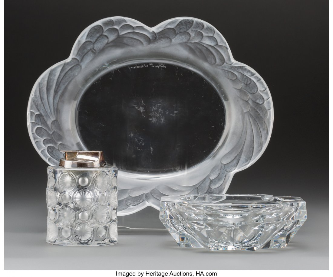 61882: Two Lalique Clear and Frosted Glass Tablewares a