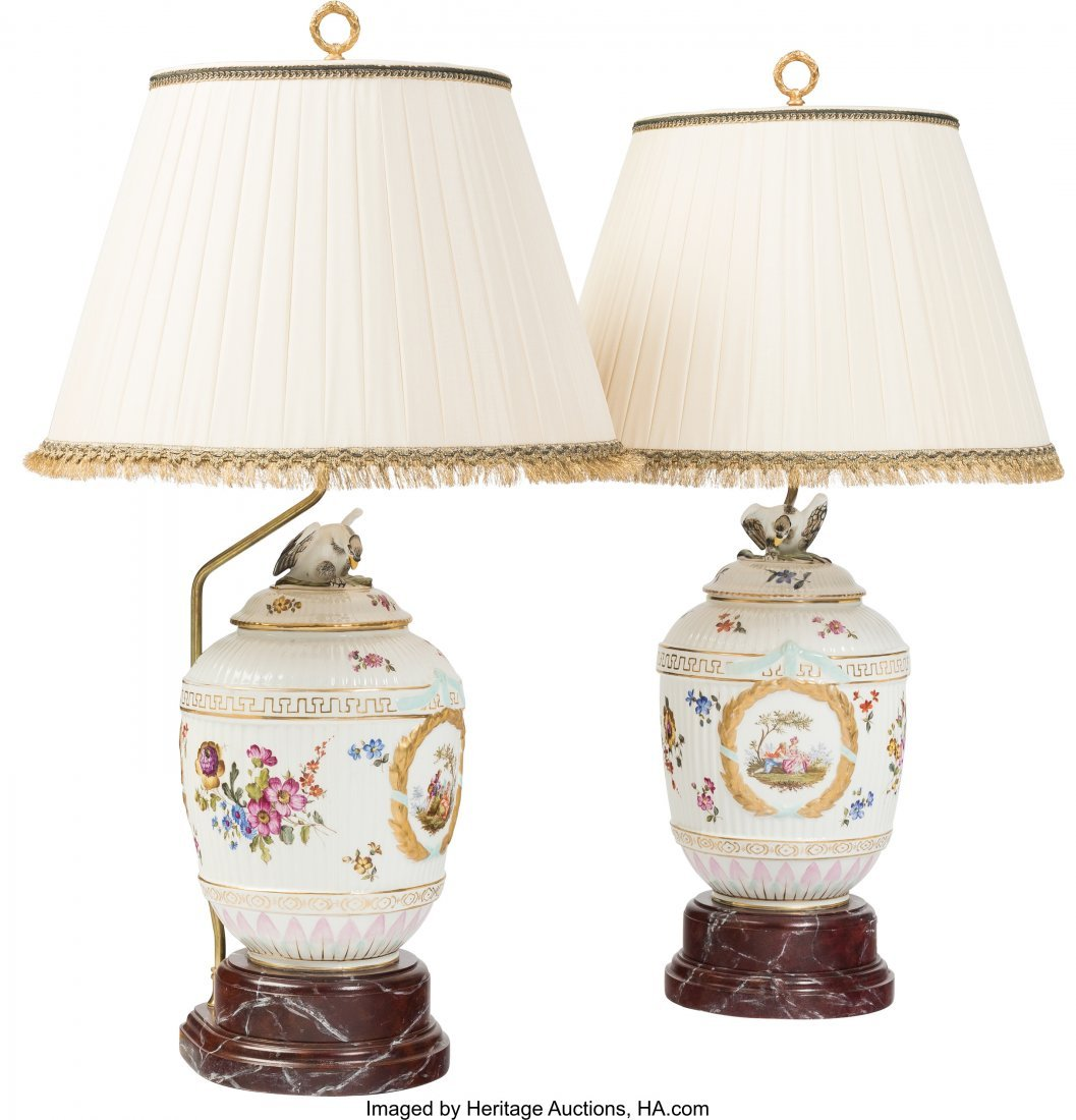 61777: A Pair of Allegorical Ceramic Lamps, late 20th c