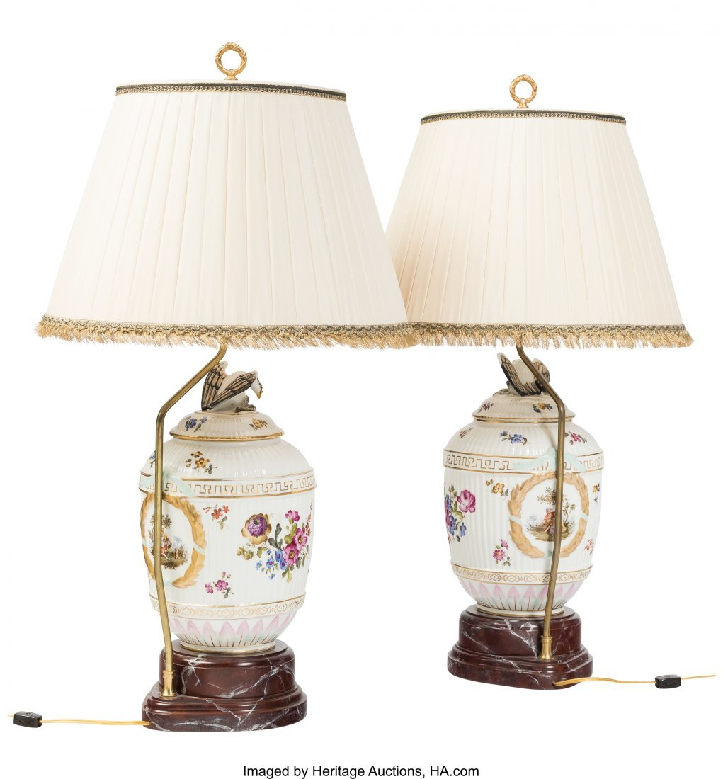 61777: A Pair of Allegorical Ceramic Lamps, late 20th c - 2