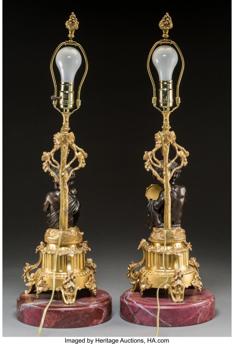 61778: A Pair of Gilt and Patinated Bronze Putti Lamps  - 2