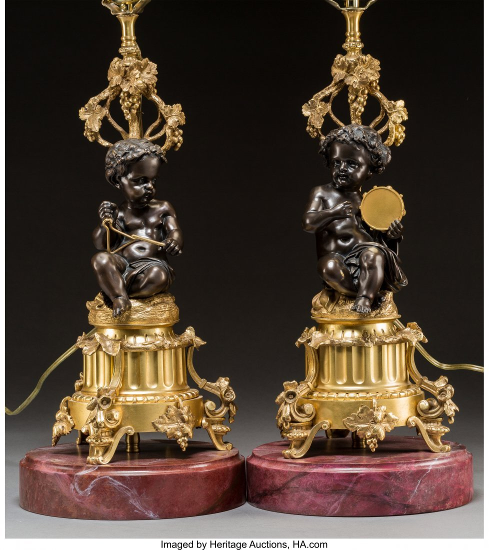61778: A Pair of Gilt and Patinated Bronze Putti Lamps  - 3