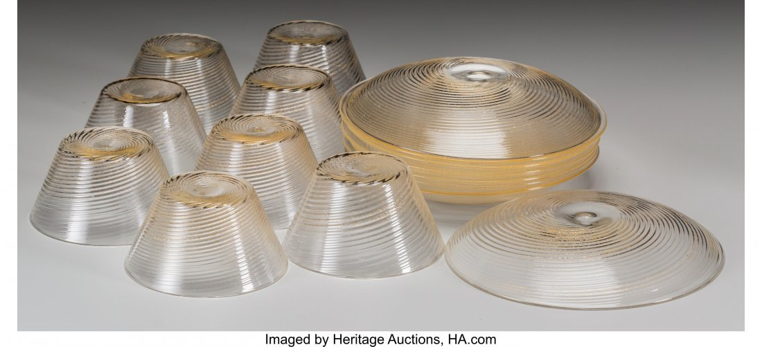61884: A Sixteen-Piece Murano Ribbed Glass Group, 20th  - 2