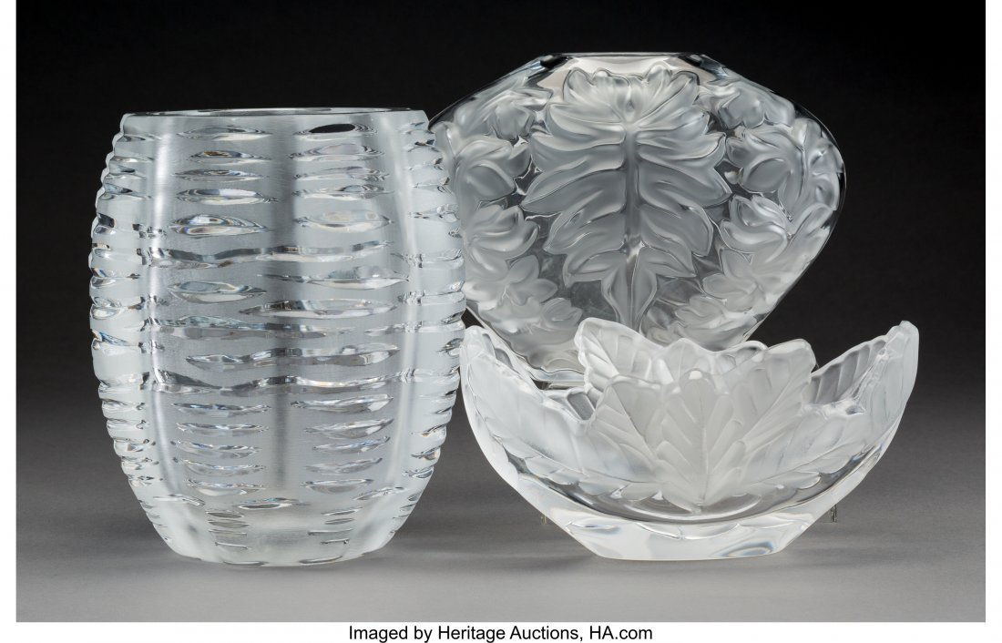 61886: Three Lalique Clear and Frosted Glass Vases, pos