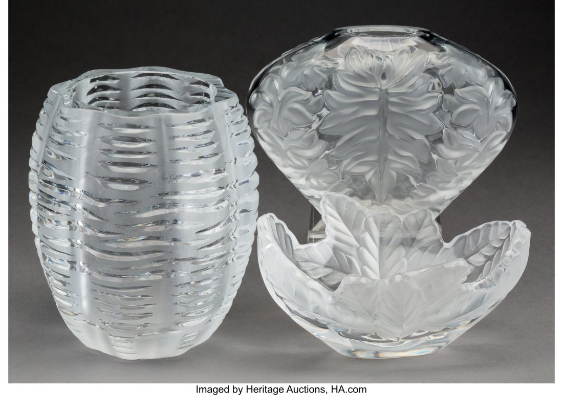 61886: Three Lalique Clear and Frosted Glass Vases, pos - 2