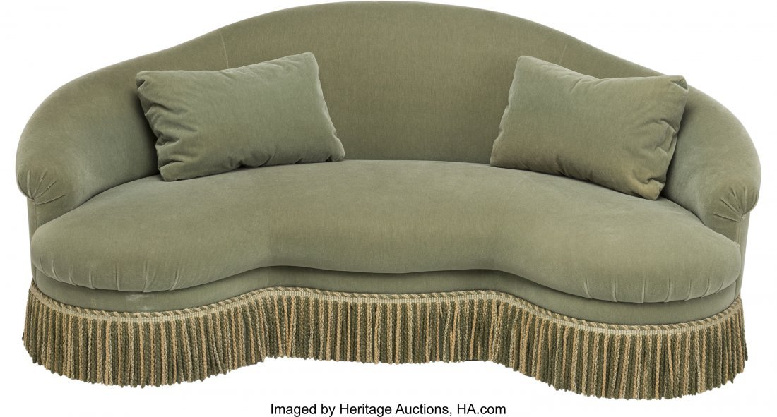 62037: An Upholstered Kidney-Shaped Love Seat 37 h x 84