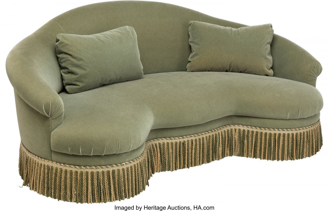 62037: An Upholstered Kidney-Shaped Love Seat 37 h x 84 - 2