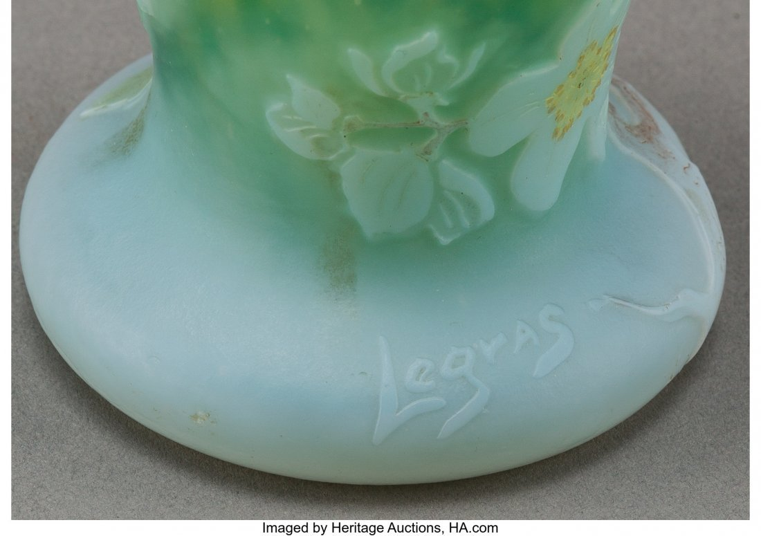 61888: A Legras Partial Gilt Overlay Glass Floral Vase, - 3
