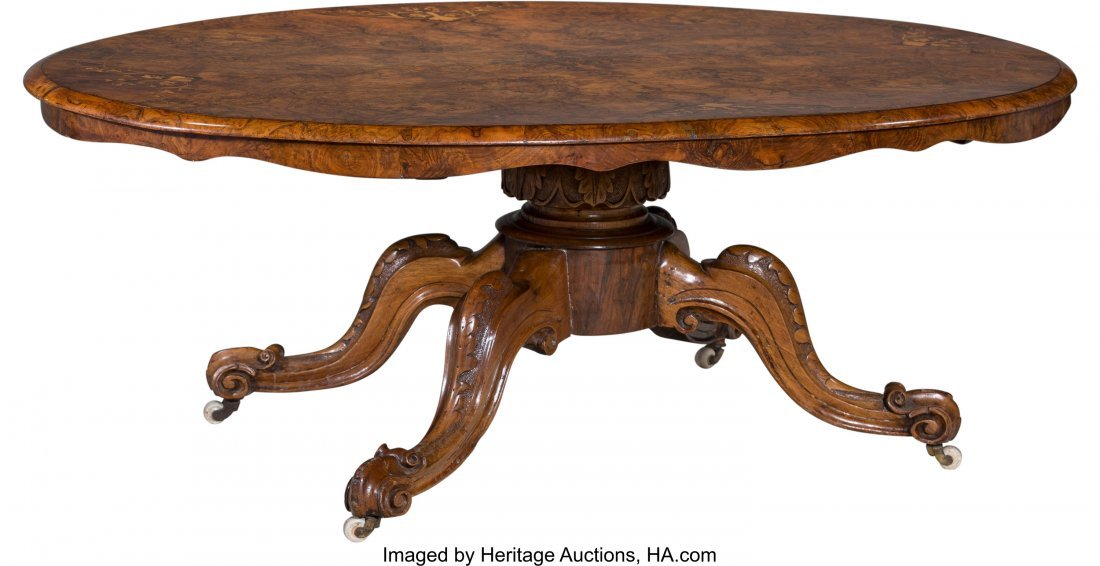 62038: A Victorian Inlaid and Burled Walnut Oval Coffee