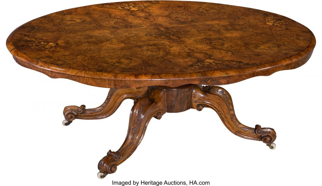 62038: A Victorian Inlaid and Burled Walnut Oval Coffee - 2