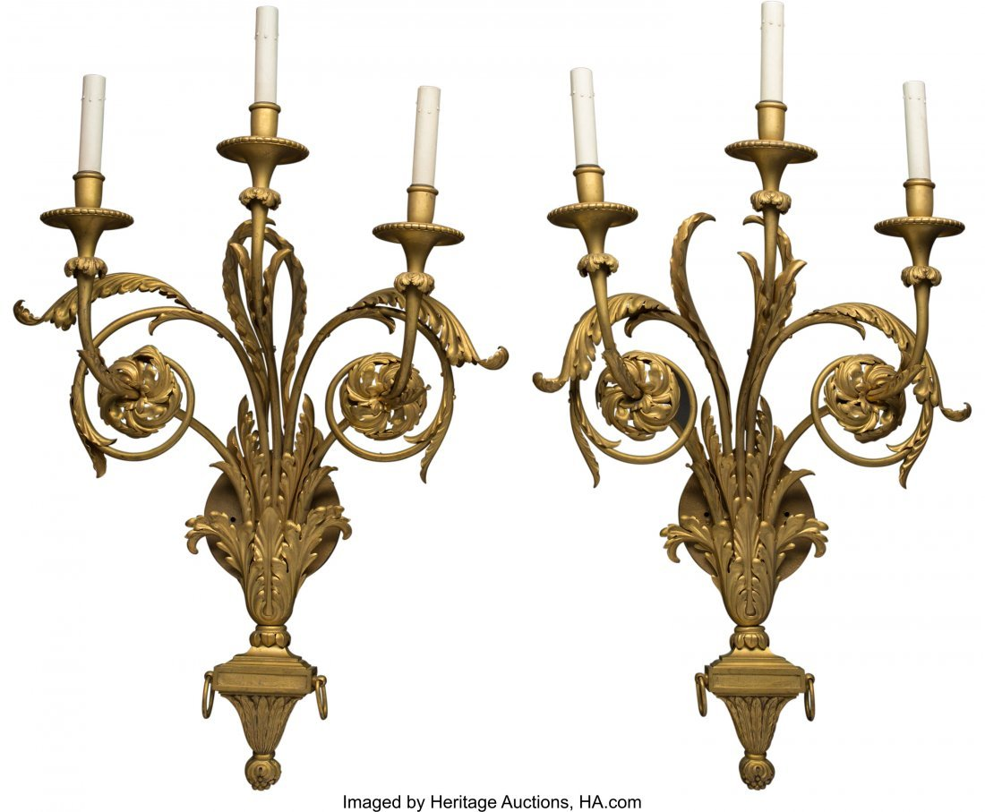 62042: A Pair of Louis XVI-Style Gilt Bronze Three-Ligh