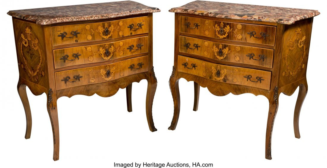 62045: A Pair of Louis XV-Style Marquetry Commodes with
