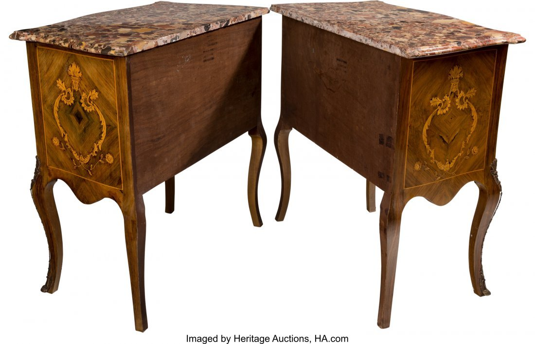 62045: A Pair of Louis XV-Style Marquetry Commodes with - 2