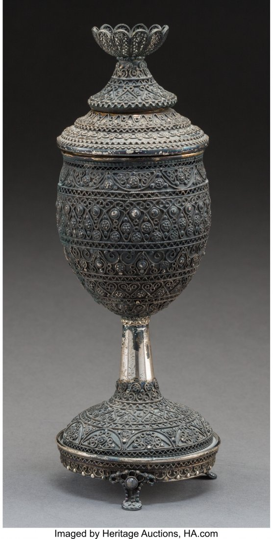 61791: A Shevach Bros. Silver Covered Kiddush Cup, 20th