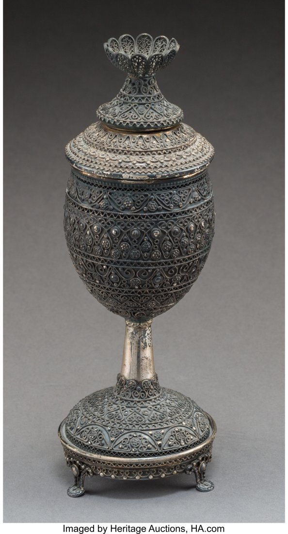 61791: A Shevach Bros. Silver Covered Kiddush Cup, 20th - 2