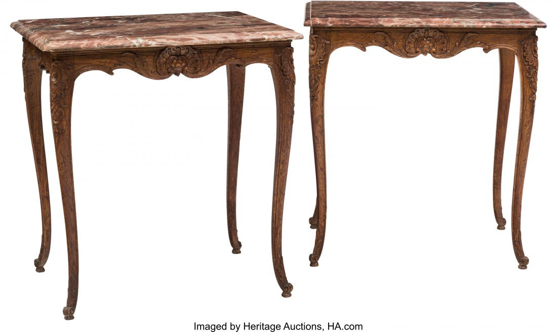 62056: A Pair of Louis XV-Style Oak Side Table with Mar
