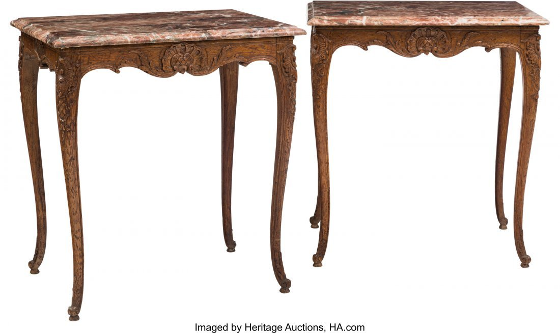 62056: A Pair of Louis XV-Style Oak Side Table with Mar - 2