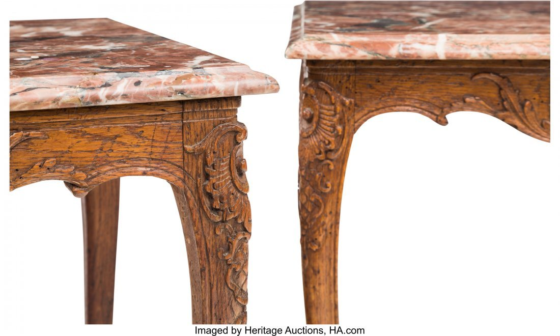 62056: A Pair of Louis XV-Style Oak Side Table with Mar - 3