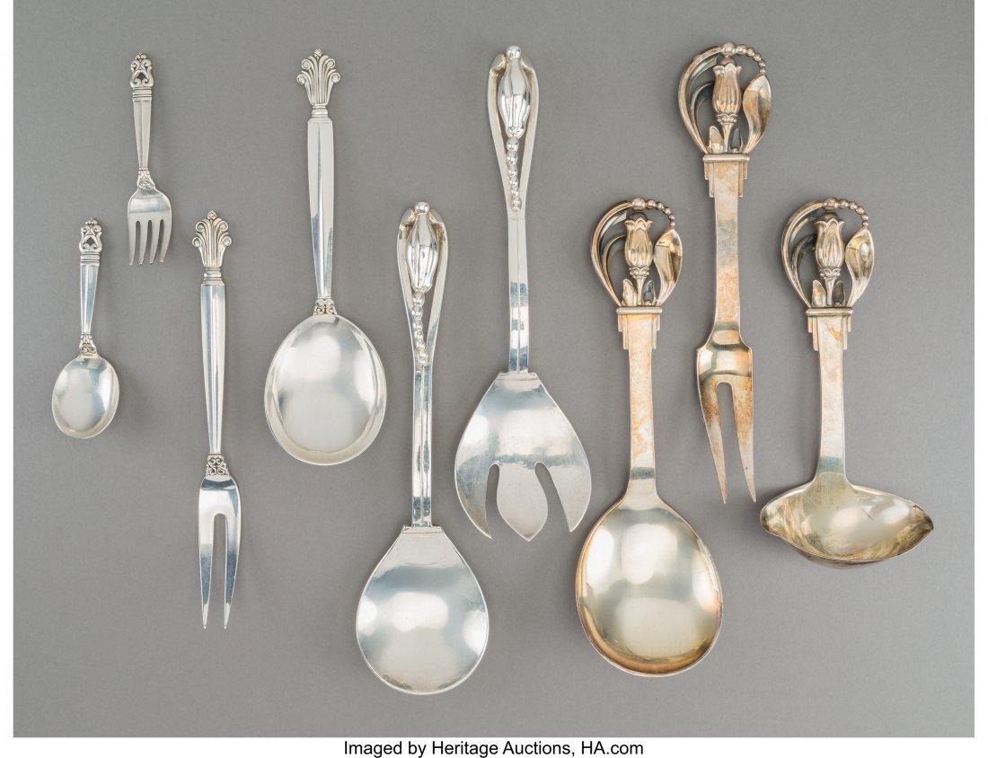 61796: A Nine-Piece Danish and American Silver Flatware
