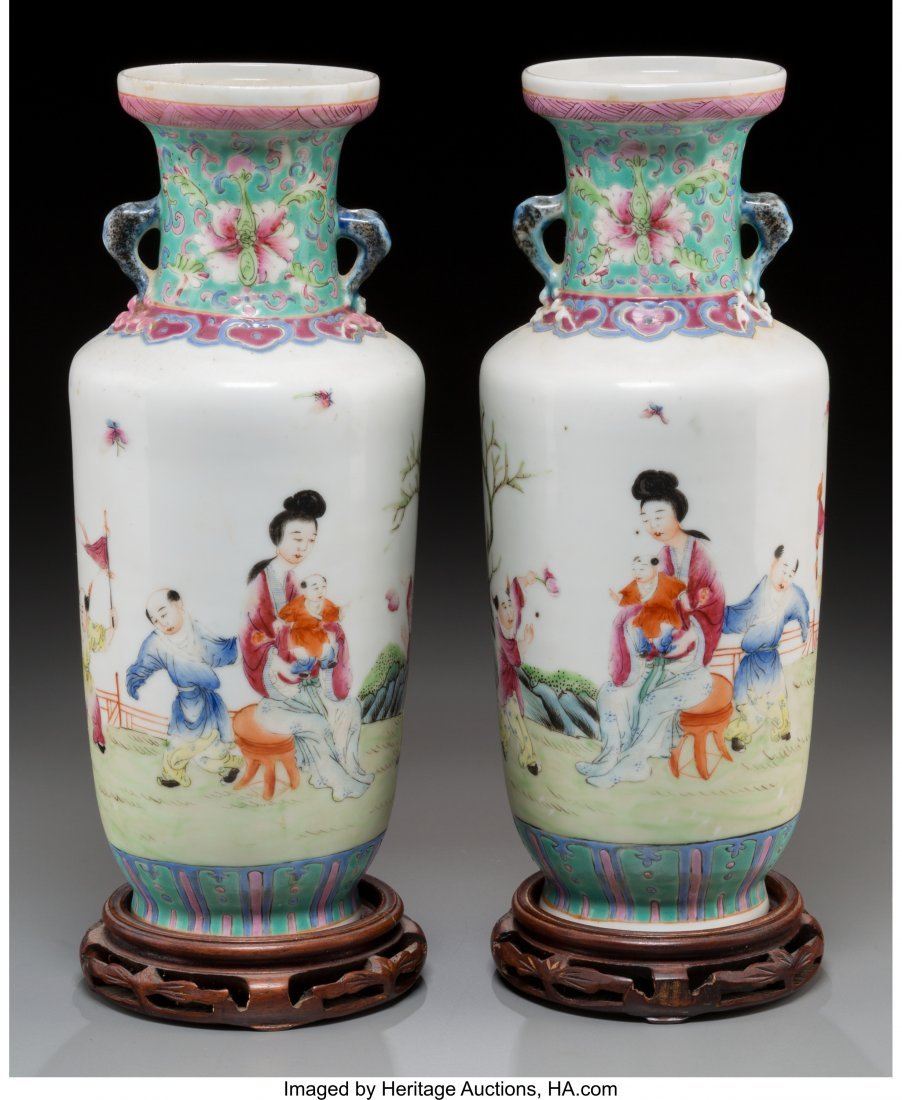 62147: A Pair of Chinese Enameled Porcelain Vases on Ha