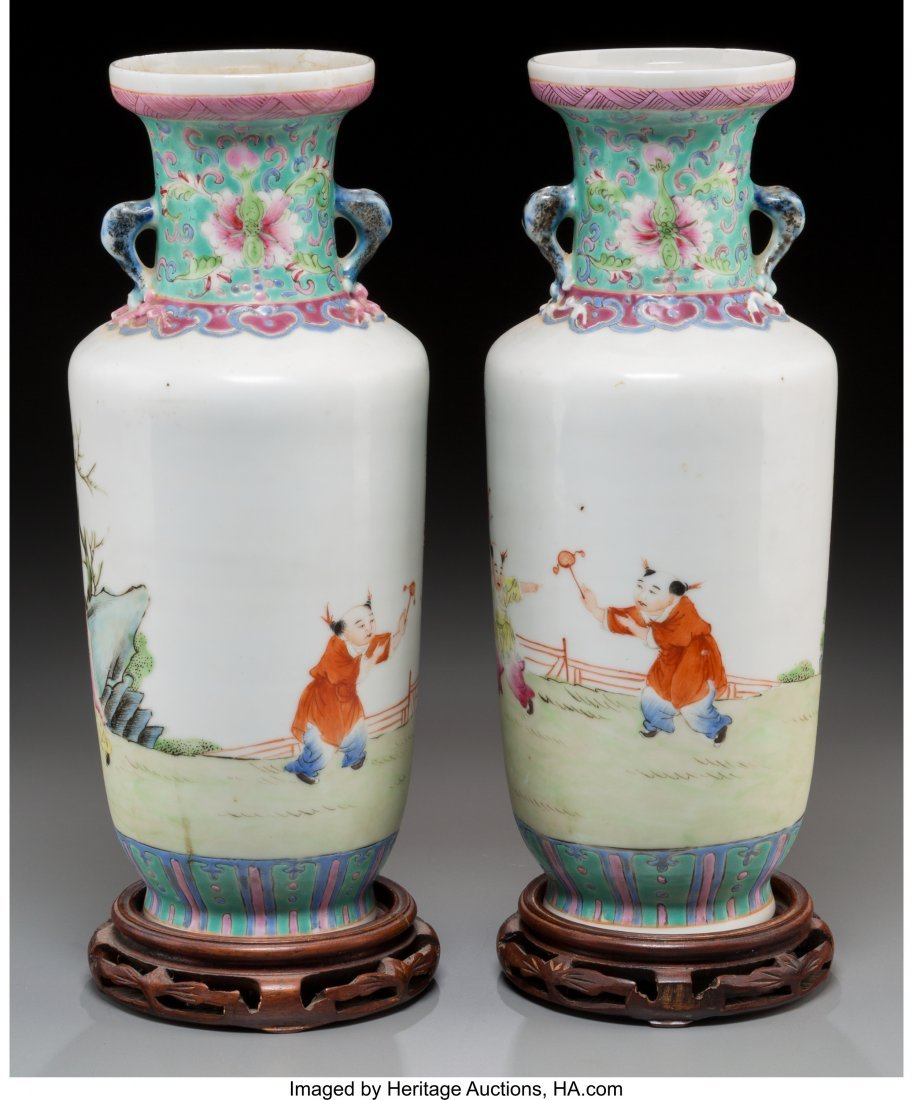 62147: A Pair of Chinese Enameled Porcelain Vases on Ha - 2