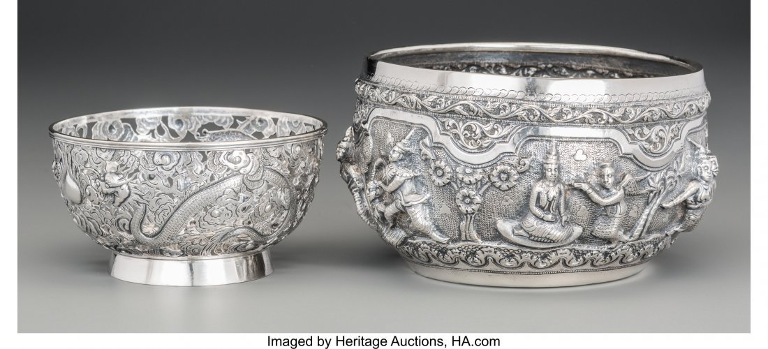 62149: A Luen Wo Chinese Export Silver Bowl with Burmes