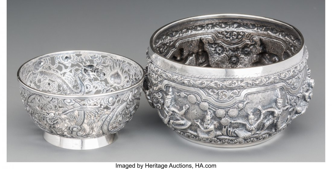 62149: A Luen Wo Chinese Export Silver Bowl with Burmes - 2