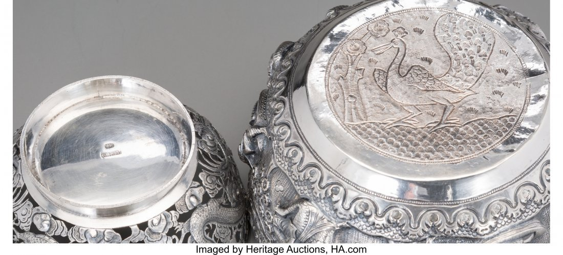 62149: A Luen Wo Chinese Export Silver Bowl with Burmes - 3