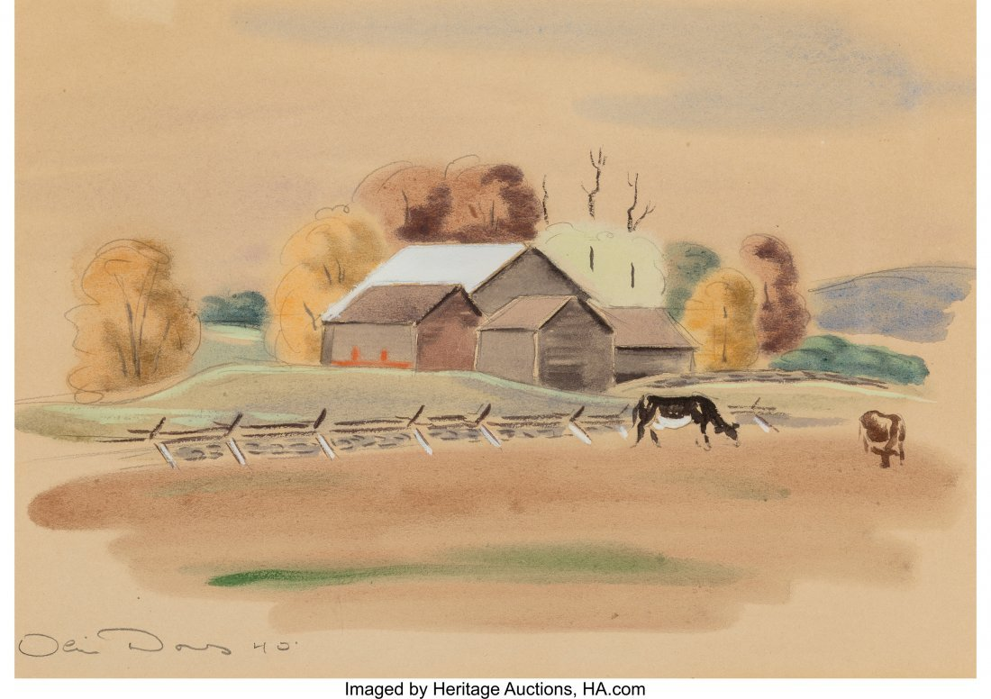 62237: Olin Dows (American, 1904-2004) Pair of Countrys - 2