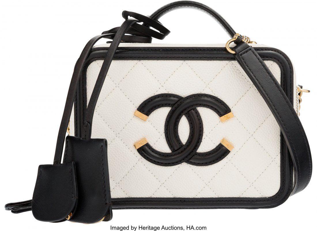 Chanel White & Black Caviar Leather Small CC Fil